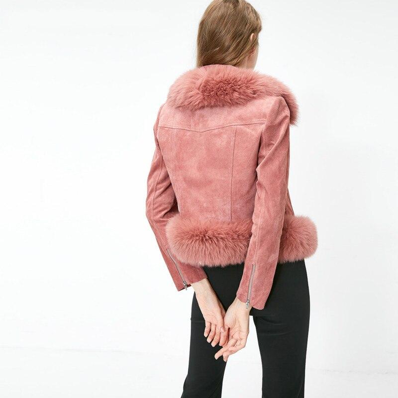 Zt1595 Veste Des Renard Réel Manteau 2018 Pur Tops Naturel Femmes Automne Hiver Fourrure Peau Porc e15feihongse Vêtements De S57black HqFxw06af