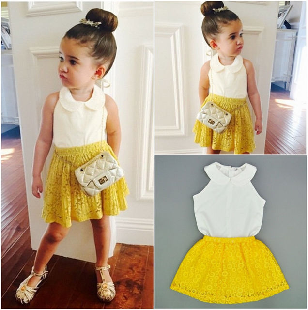 612eca94cd1 2pcs outfits set !! wholesale kids baby girls sleeveless pure white tank  tops + yellow lace skirt for 2-7Y girl