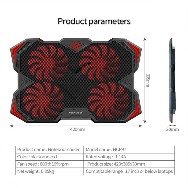 New Laptop Cooling Pad for 12-17 inch Laptop with 4 Silent Fans LED Lights Dual USB Ports r20 5
