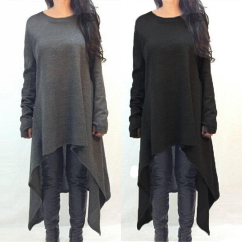 ZANZEA Plus size dames trui jurk 2018 herfst winter gebreide asymmetrische jurken o hals lange mouw casual losse midi vestidos
