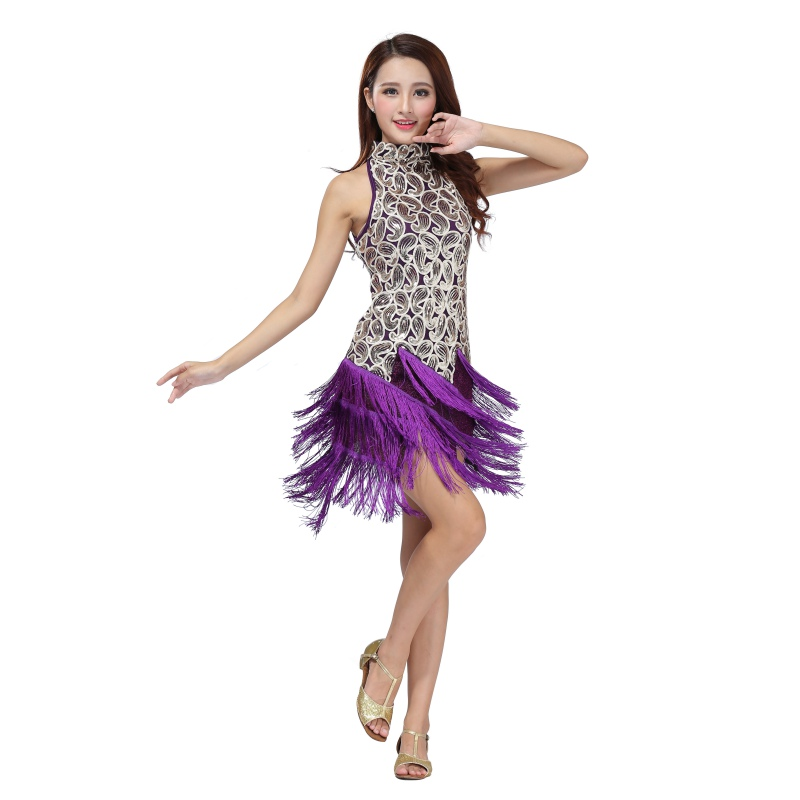 Hot Sale Women Ladies Sleeveless Sexy Stage Perform Sequin Latin Tango Samba Ballroom Salsa Dance Dress Fringes Tassels Dresses