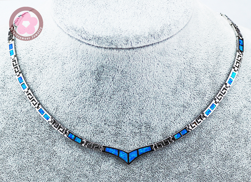 JZN0004 Elegant Torques Blue Opal Gem Silver Necklace New Trendy Necklace for Women Fine Jewelry Necklace Jewelry Gift for Girls vintage faux opal floral necklace jewelry for women