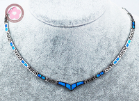 JZN0004 Elegant Torques Blue Opal Gem Silver Necklace New Trendy Necklace for Women Fine Jewelry Necklace Jewelry Gift for Girls