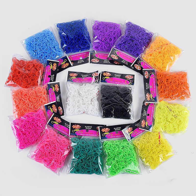 300pcs 16 Color Loom Bands for Children Girl Gift Rubber Bands for Weaving Lacing Bracelet Toy Orbits Needlework Creativity Toy