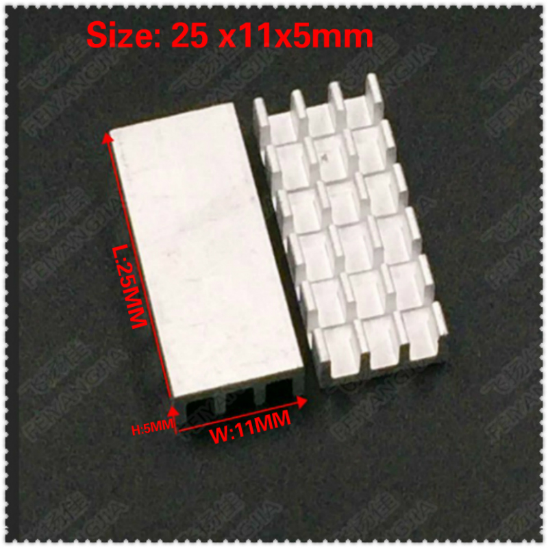 (Free shipping )100pcs Aluminum Heat sinks IC Chip Cooler Cooling Heatsink Aluminum Heat Sink For Electronic Computer25X11X5MM motoo universal new motorcycle carbon fiber exhaust scooter modified exhaust muffler pipe for honda cbr600rr