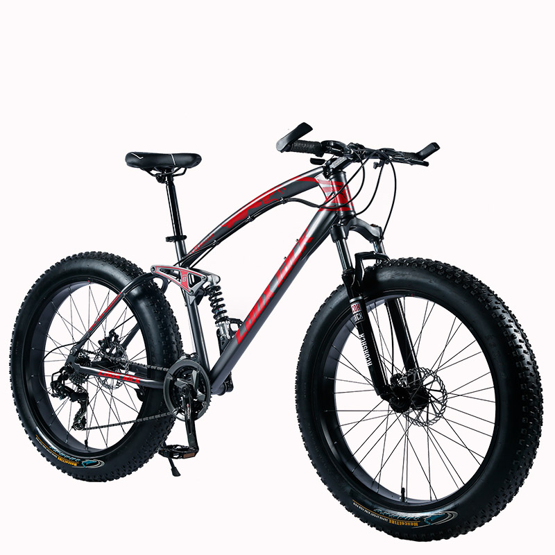 "HTB1coc lr3nBKNjSZFMq6yUSFXa6 LAUXJACK Mountain Fat Bike 26"" Wheels SHIMANO 24 Speed Full Suspended Frame"