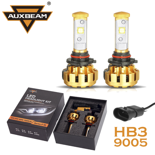 Auxbeam Cree LED Chips 9005/HB3 Car Headlight Bulbs 60W/pair Aircraft Grade Luxury Gold Aluminum Refitment for SUV HB3 Fog Lamps