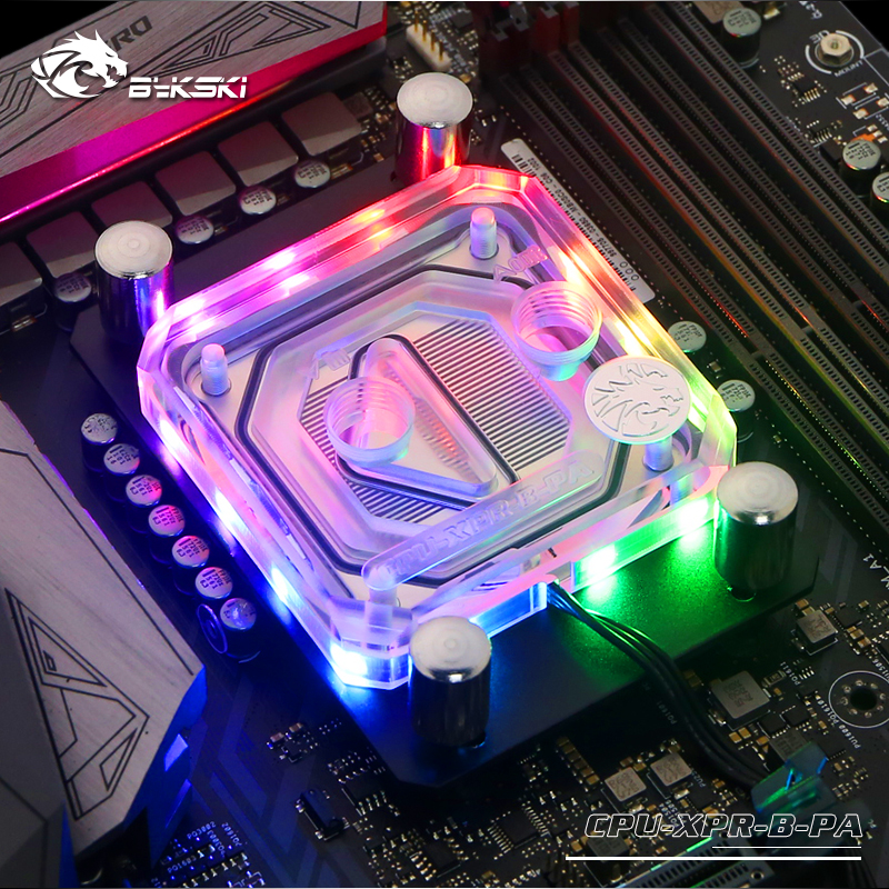 Bykski CPU Water Block use for AMD RYZEN AM3/AM3+/AM4 Socket RGB support 5V 3PIN GND Header to Motherboard AURABykski CPU Water Block use for AMD RYZEN AM3/AM3+/AM4 Socket RGB support 5V 3PIN GND Header to Motherboard AURA