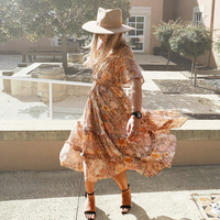 TEELYNN Rayon amathyst dress 2019 floral print Gypsy summer Dresses flare sleeve long women dresses garden BOHO Dress vestidos