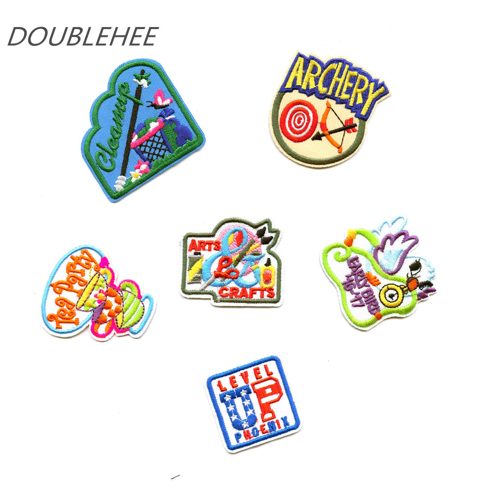 DOUBLEHEE Cartoon Party Bow Target Patch Embroidered Iron On Patches Embroidery Sew DIY Coat Shoes Accessories