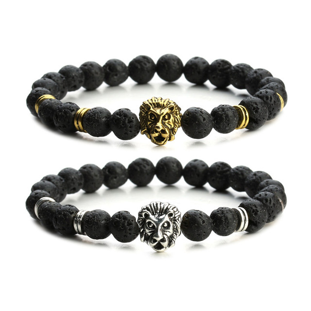 5431ac88b6b9 Oro antiguo plata Leo cabeza de león encanto pulsera hombres 8mm piedra de  lava negro
