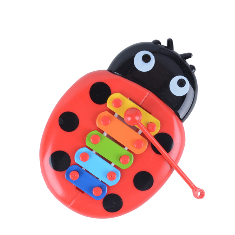 Anime Colorful Ladybug Baby Puzzle Insects Knock On Piano Musical Instrument Play Toy Educational Toy For Infant Baby
