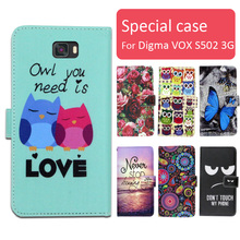 Fashion cartoon printed flip wallet leather case for Digma VOX S502 3G with Card Slot phone bag book case,free gift