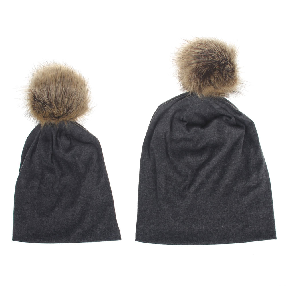 Baby Knitted Hat Caps For Girls Toddler Crochet Beanies Fur Ball Cute Baby  Boys Hats Family Cap 2Pcs 0bd7dd044f1