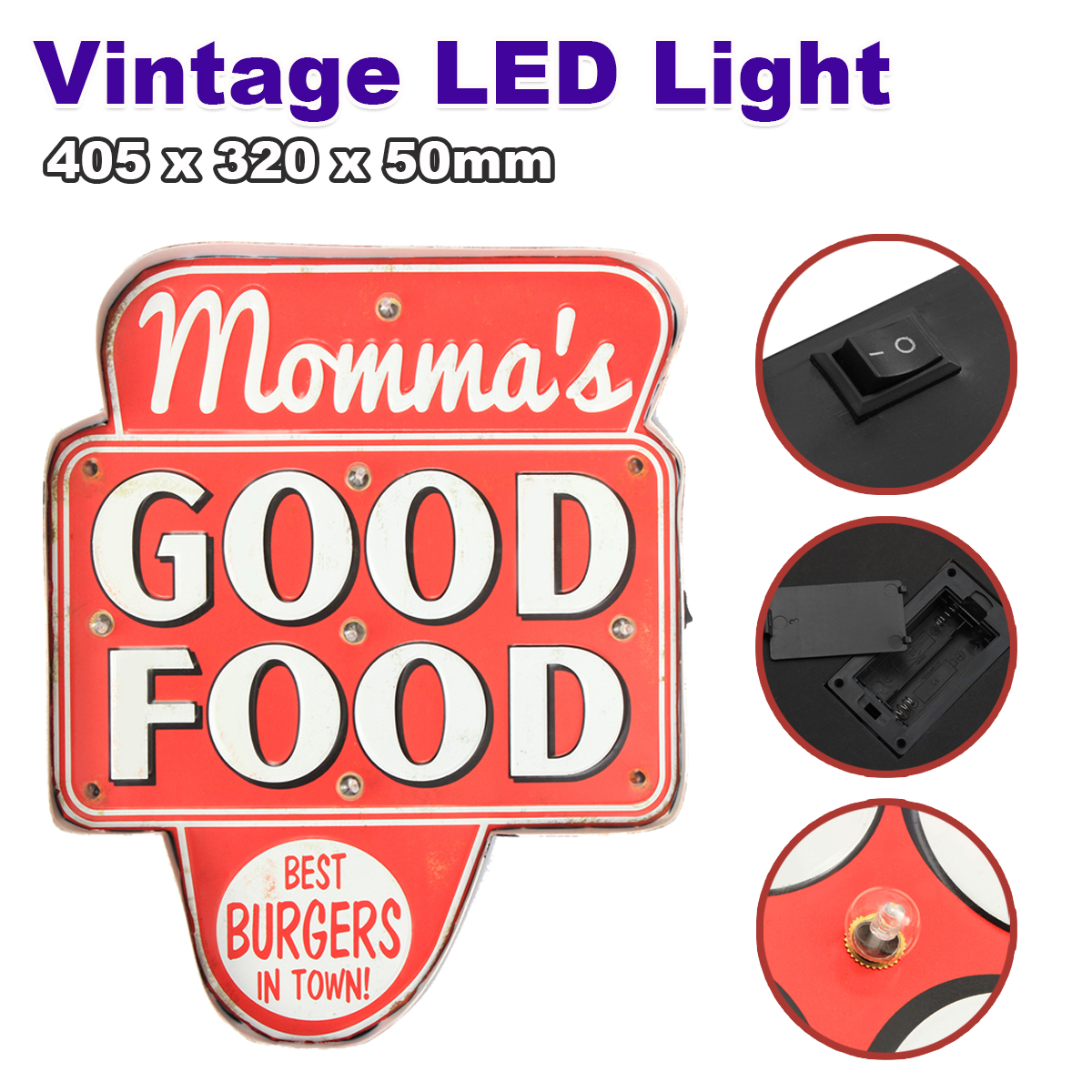 LED Mental Light Vintage Good Food Sign Bar Game Room Wall Hanging Decoration Hand Crafted Mental аксессуар защитное стекло sony xperia e4g solomon