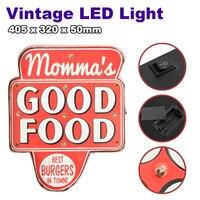 LED Mental Light Vintage Good Food Sign Bar Game Room Wall Hanging Decoration Hand Crafted Mental