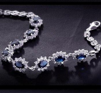 925 Sterling Silver Natural Sapphire Link Bracelet Woman Fine Elegant Luxury Blue Gem Jewelry Girl Birthstone Valentine Gift