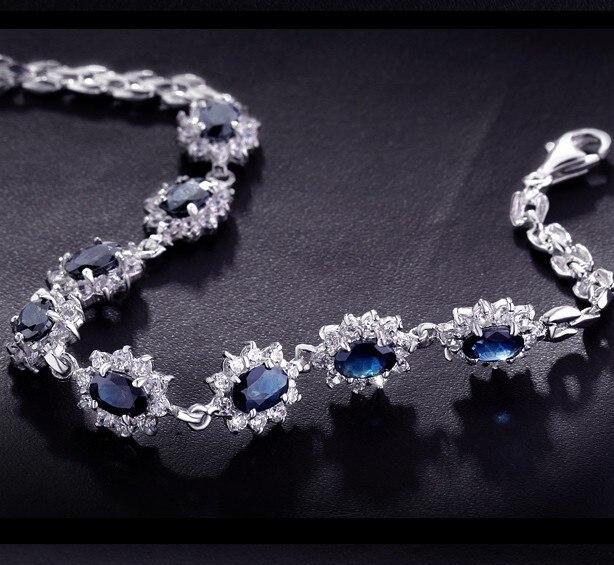 925 Sterling argent naturel saphir lien Bracelet femme élégant luxe bleu gemme bijoux fille pierre de naissance Valentine cadeau