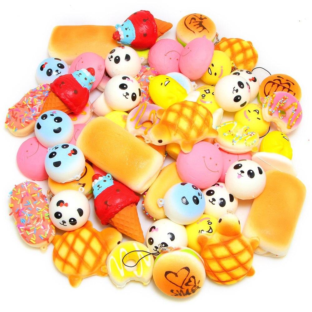 INBEAJYWholesale 20pcs Medium Mini Soft Anti-Stress Squishy Bread Toys Squishies Slow Rising Sweet Scented Bread Kids Toys