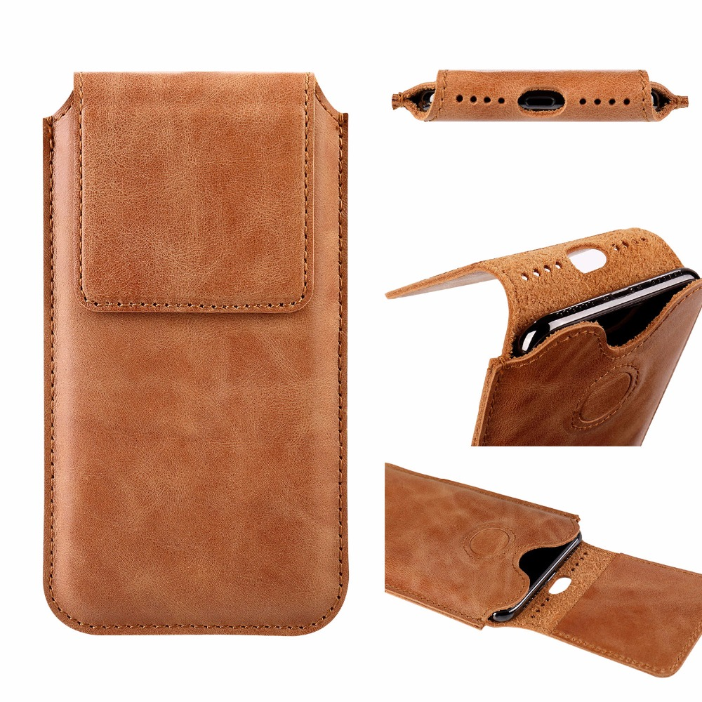 Jisoncase Mobile Phone Bag For iPhone X Genuine Leather Phone Pounch Brown Vintage Prote ...
