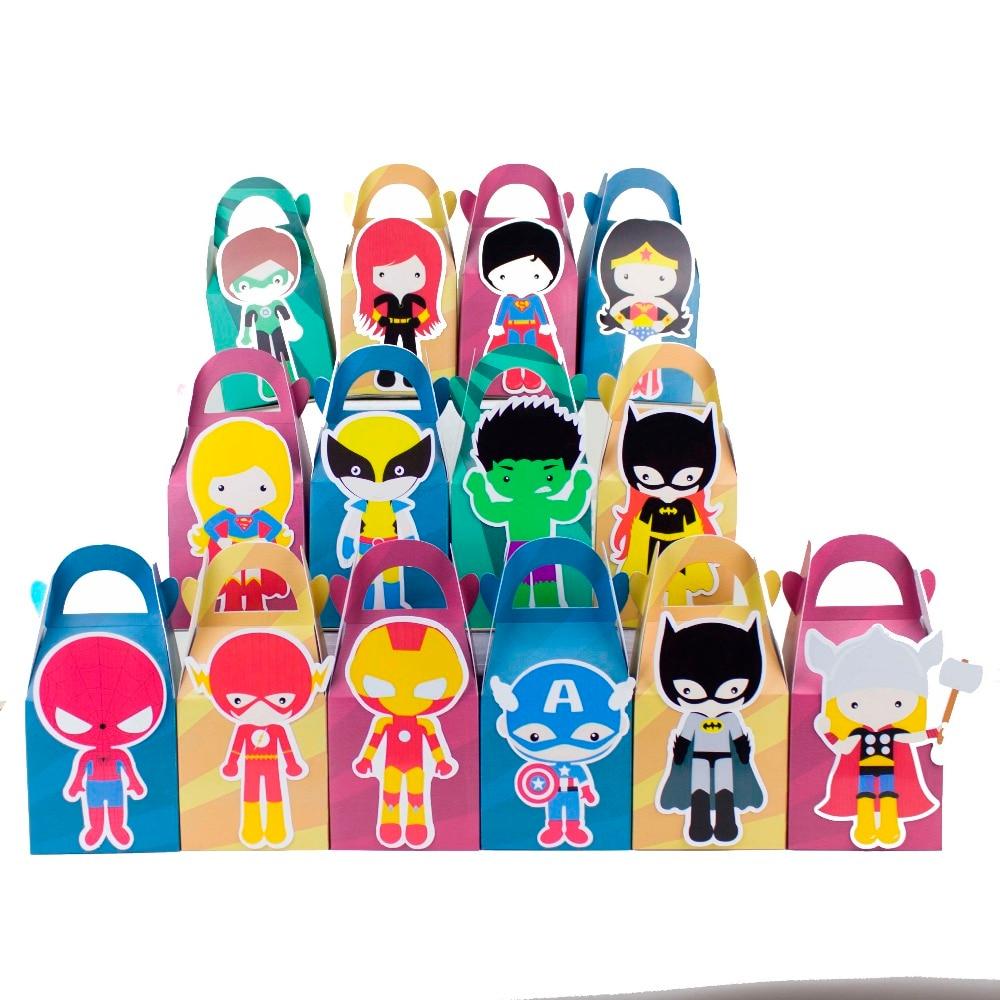 Супергерой пользу конфеты коробка Подарочная коробка кекс поле Мальчик Дети День рождения поставляет украшения