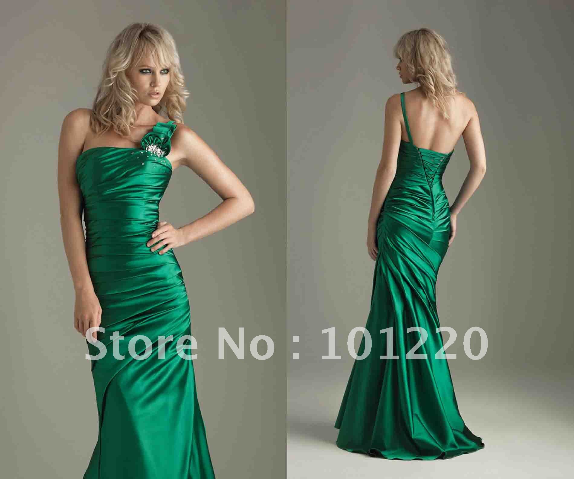 Discount Free Shipping Cwds078 One Shoulder With: Free Shipping Custom Made Emerald Green One Shoulder Prom