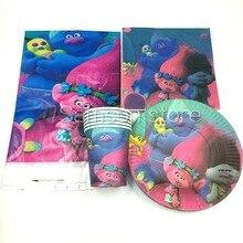 Trolls theme 20pcs napkins+20pcs cups+20pcs plates+2pcs tablecovers for kids birthday party paper plate cake dishes 20pcs d4186 aod4186 sot252