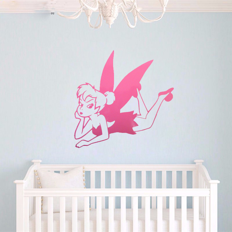 Tinkerbell Fairy Silhouette Wall Sticker Cartoon Fairy Vinyl Wall ...
