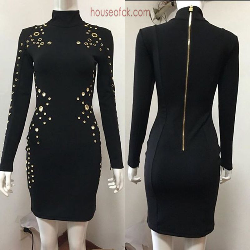 Buy Cheap black high neck bodycon dress long sleeve 2017 spring sexy women bandage dress vintage vestido short cocktail party dresses