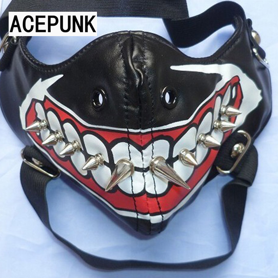 2019 New Fashion Cool Mask Punk Motor Mask Cosplay Party Long Rivet Läder Masker Hip-Hop Halloween Motorcykel Ansiktsmasker