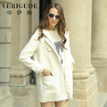 Veri Gude Women Hooded Wool Coat Zipper Front Woolen Coat
