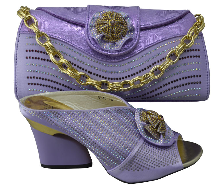 Light Purple Hot African Fashion 8cm High Heel Shoes Matching Bag Set Wonderful Upscale And Bags Factory Price In Women S Pumps From On