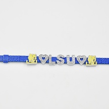 Newest Style Louisiana State LSU Tigers College Sport Team 8mm Silde charms Leather Bracelet 2018 Best Fans Gift(China)