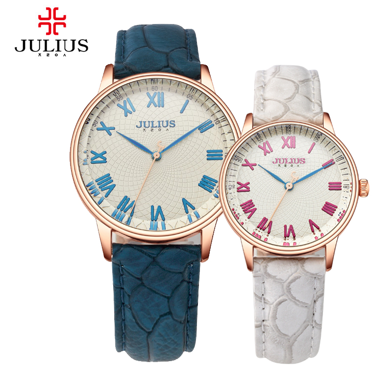 Julius Women's Men's Wrist Watch Quartz Hours Multicolor Best Fashion Dress Leather Couple Lovers Birthday Valentine Gift JA-857