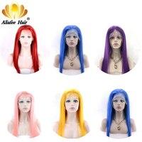 AliAfee волосы 150% кружева передние человеческие волосы парики 8 30 бразильские Прямые синий/красный/розовый/фиолетовый/желтый парики 100% челове