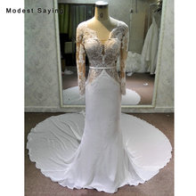 modest saying Real Photo Long Sleeve Wedding Dresses 2018