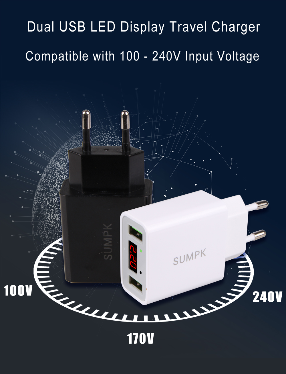 SUMPK Dual USB Travel Charger 5V2.2A LED Display Smart Fast Charging Mobile Wall Charger for iPhone iPad Samsung