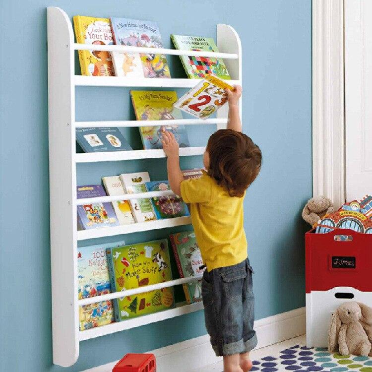porte revues meubles de bureau pour enfants solide bibliotheque en bois etagere de rangement pour livres organisateur de livres 79 5x12x118cm