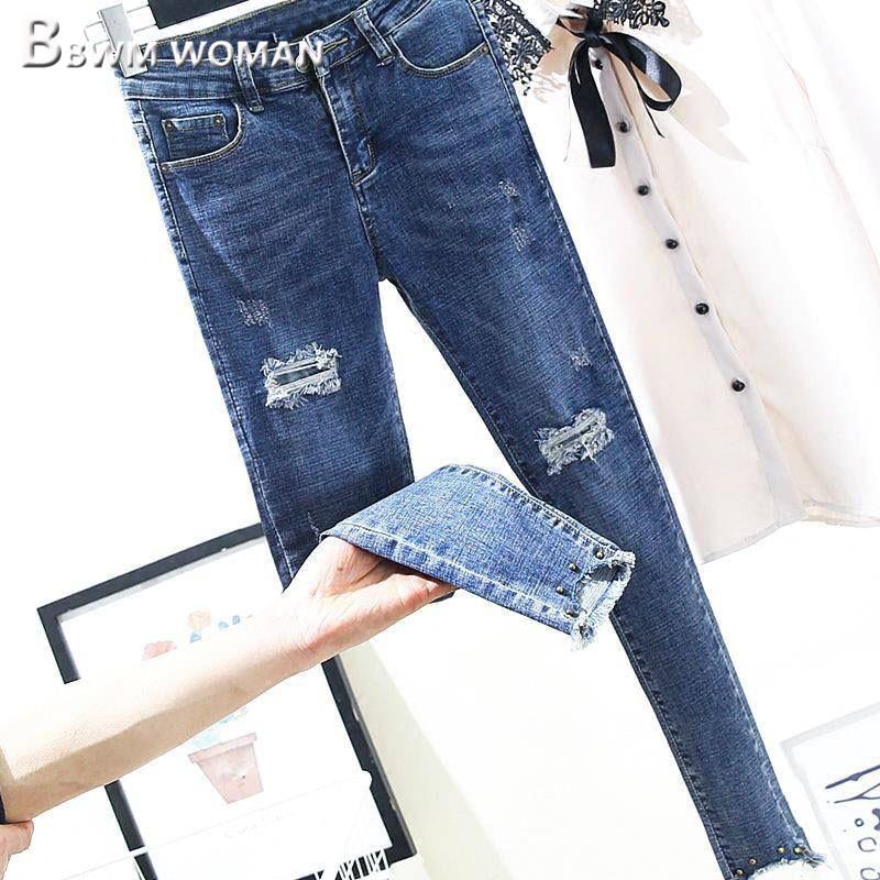 2019 Spring Elastic Women   Jeans   Korean Hipster Fashion Female Trousers Pants