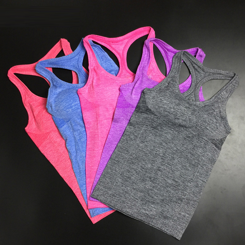 Women Shirts  Elastic Breathable  Fitness Comfortable Vest Ladies Vest Double Movement No Rims Tank Top