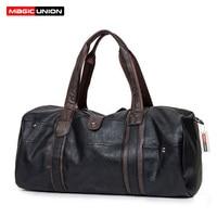 MAGIC UNION Weekender Oil Wax Leather Handbags for Men Travel Duffel Bag Portable Shoulder Bags Men's Fashion Carry On Bag