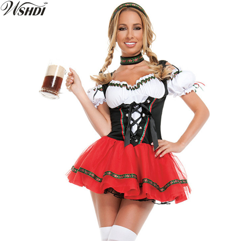 2018 New High Quality German Beer Maid Costume Women Oktoberfest Dirndl Dress Adult Halloween Party Outfit