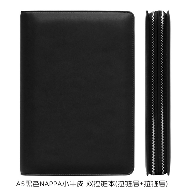 A5 Genuine Leather Cowhide Notebook Notepad Exquisite A6 Custom Name Diary Double Zipper Calculator Binder Office Supplies Gift