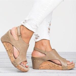 Image 4 - Women Sandals 2020 Platform Sandals Wedges Shoes For Women Heels Sandalias Mujer Summer Shoes Leather Wedge Heels Sandals 43