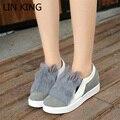 LIN REI Estilo Coreano Mulheres Sapatos de Inverno Bonito Orelhas de Coelho Artificial de Pele De Coelho Sapatos Casuais Bandos Deslizamento Em Sapatos de Plataforma