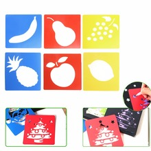 6Pcs Plastic Picture Drawing Template Stencils Rulers Painting Kids DIy Gift New цена