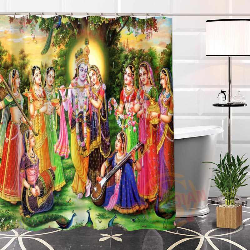 La mejor cortina de baño personalizada de dioses indios, cortina de baño impermeable, tela de baño más tamaño LQ #21