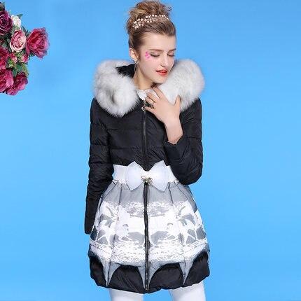 New 2015 Luxury Women Fur Collar Slim Wasit Thicken Parkas Fashion Winter Coat Jacket Women Long Wadded Coat H5591