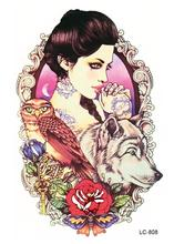 LC2808 21x15cm Large Tattoo Sticker Sexy Girl Owl Wolf Designs Temporary Tattoo Rose Flower Fashion