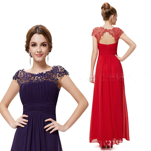 Women s Vestido De Fiesta plus size Evening Dress Formal Black Purple Red  Blue Lace Long Evening eb78ed1ff498